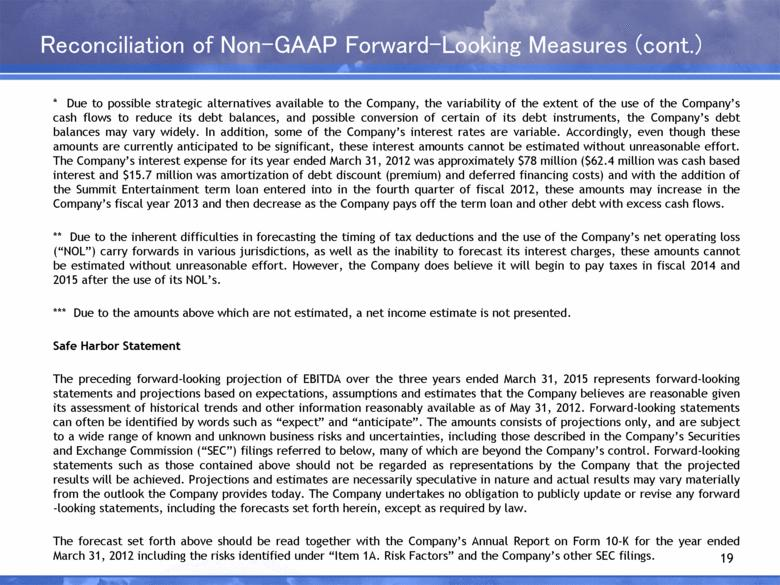 Reconciliation of Non-GAAP Forward -Looking Measures (cont.