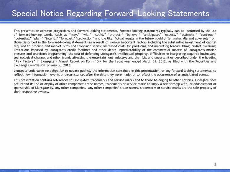 Special Notice Regarding Forward-Looking Statements 2 This presentation contains projections and forward-looking statements.