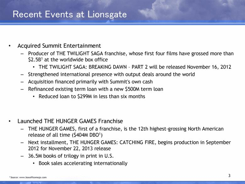 Recent Events at Lionsgate Acquired Summit Entertainment Producer of THE TWILIGHT SAGA franchise, whose first four films have grossed more than $2.