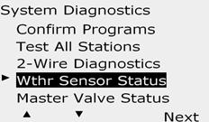 Weather Sensor Status Turn the controller dial to Test ll stations/heck System. Each sensor will display one of three status conditions: a.