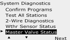 Master Valve Status Turn the controller dial to Test ll stations/heck