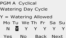 Press the Yes button to allow irrigation to start on a given day of the week or else press No to prevent irrigation from starting. 3 4 The Watering ycle screen appears.