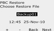 It s recommended to create a temporary ackup of current programs before using Restore. Turn the controller dial to ETM/IQ/P Settings.