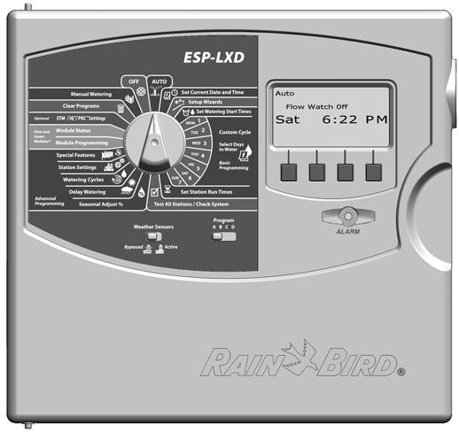 ontrols, Switches and Indicators Key operational features of the ESP-LXD ontroller front panel: Programming Dial Used for programming and to turn the controller on and off.