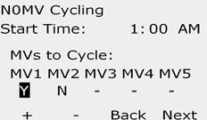 Since irrigation is suspended when the NOMV is shut, choose a time when irrigation is not scheduled for this operation. Turn the controller dial to Special Features. D The NOMV ycling screen appears.