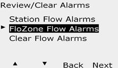 View FloZone Flow larms Turn the controller dial to Module Status. D The Review/lear larms screen appears.