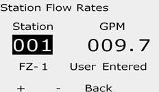 View Flow Rates Occasionally you may want to check flow rates and their source for a station or flow zone. View Flow Rates for Stations Turn the controller dial to Module Status.
