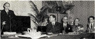 STATISTICAL side of radio held interest of BAB duo and alumnus as A. C. Nielsen addressed the BAB meeting at Chicago. L to r: William B. Ryan, BAB president; Edgar Kobak, WTWA Thomson, Ga.