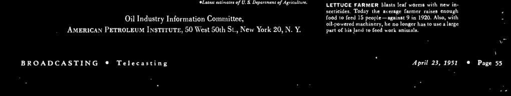 Department of Agriculture. AMERICAN PETROLEUM INSTITUTE, 50 West 50th St., New Yo