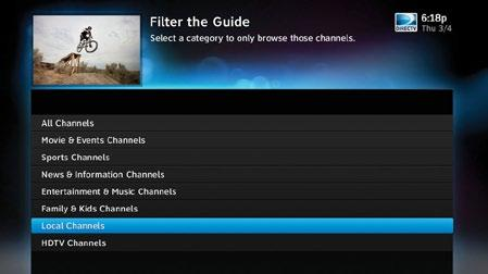 FILTERING THE GUIDE There may be times when you want to temporarily trim down the channels that are shown in the guide, filtering them according to the type of program you are looking for.