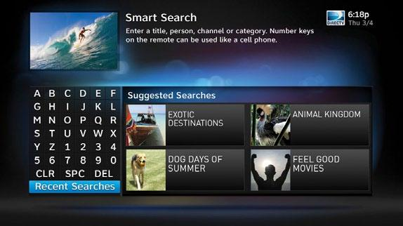 To search for programs, press MENU on your remote and select Search & Browse, then select Smart Search.