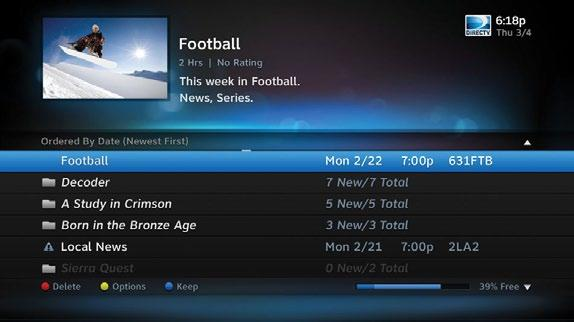 DIRECTV HD DVR RECEIVER USER GUIDE PLAYLIST The Playlist screen displays all your recorded programs.
