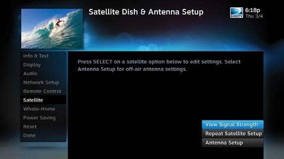 DIRECTV HD DVR RECEIVER USER GUIDE SETTINGS To change your remote method of transmission from Infrared (IR) signals to RF, select Remote Control and then IR/RF Setup.