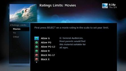 RATINGS LIMITS PARENTAL CONTROLS Set rating limits for Movies, TV and Other (unrated) shows. From the left menu, select Rating Limits then select either Movies, TV or Other.