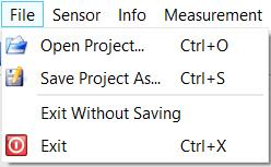 File Save Project As Saves the configuration of the entire application to a file. This file may later be used to restore a measurement configuration.