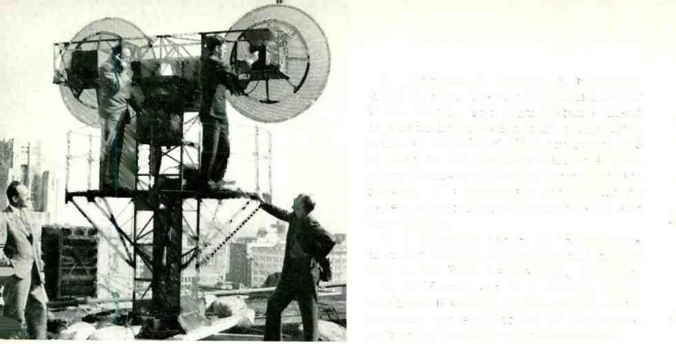 Microwave antenna array at the Los Angeles terminal of the Southern California Telephone Company's eight- channel radio system to