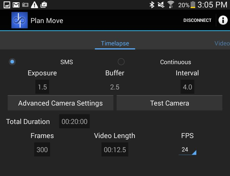 THE NMX MOTION APP The Plan Move Screen: Timelapse Now that you ve set your perfect start and end points it s time to creatively configure the motion timing and camera triggering characteristics of