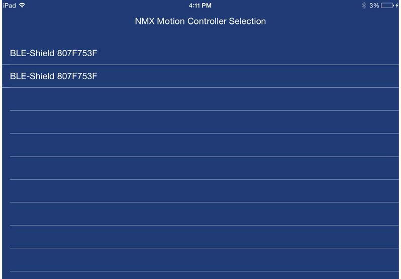 Select Your Controller ios If Bluetooth is ON and the NMX is powered the app will scan and list your controller s
