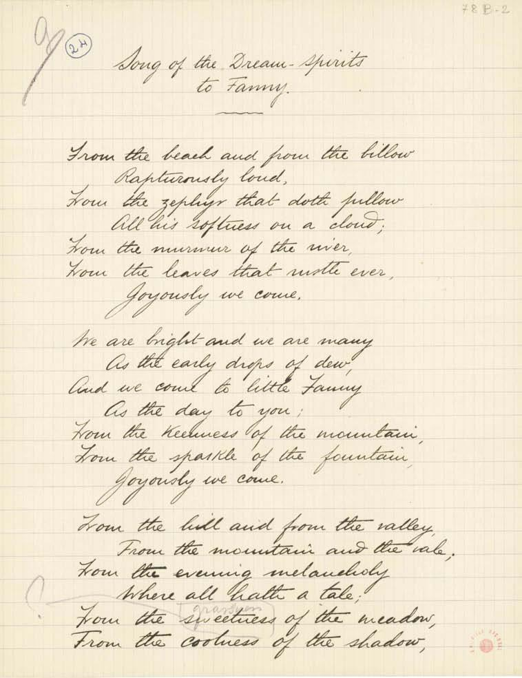 3.3. [78B-2 r & 3 r ]. Dated March, 1906 on list 48B-95 r, in which this poem received the initial title Lyric to Fanny.