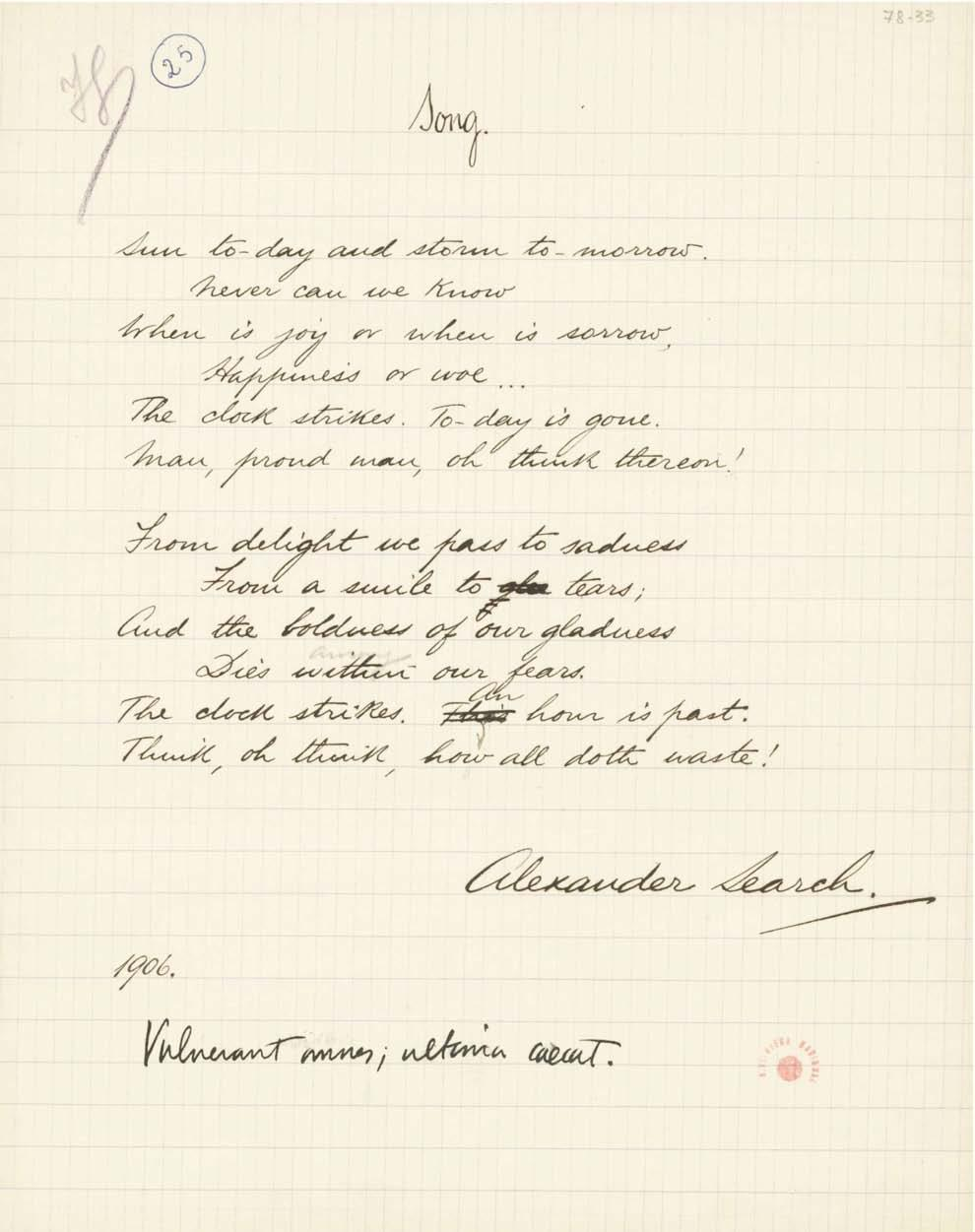 3.4. [78-33 r ]. Dated 1906. Written on grid paper in black ink, with emendations both in black ink and in pencil, bearing the signature Alexander Search.