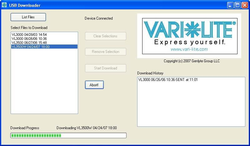 VARI LITE - VLX3 WASH LUMINAIRE USER S MANUAL Lists specific versions of downloaded software (on PC) Click to download specific software version to connected luminaire(s) Device Connection Status and