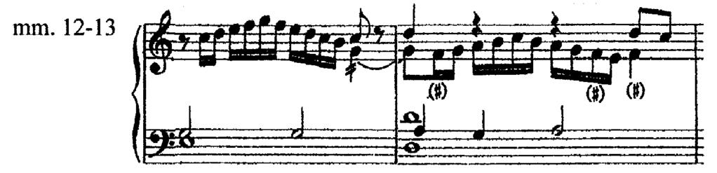 Only the opening statement of the melody in the original strain (Ex.