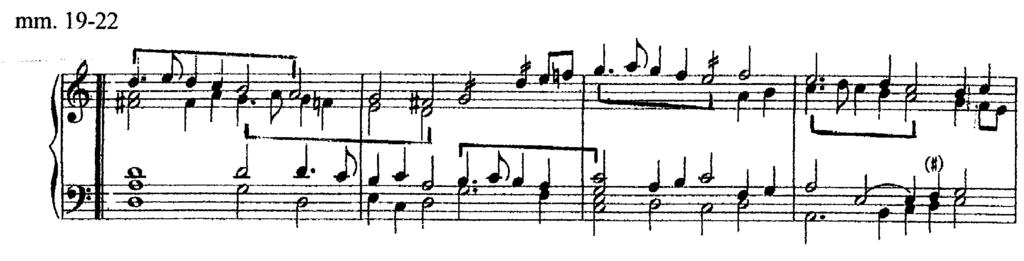 Unlike the first strain, the second strain contains more imitation, occurring primarily between the soprano and alto (Ex. 5). Example 5. Use of imitation beginning the second strain.
