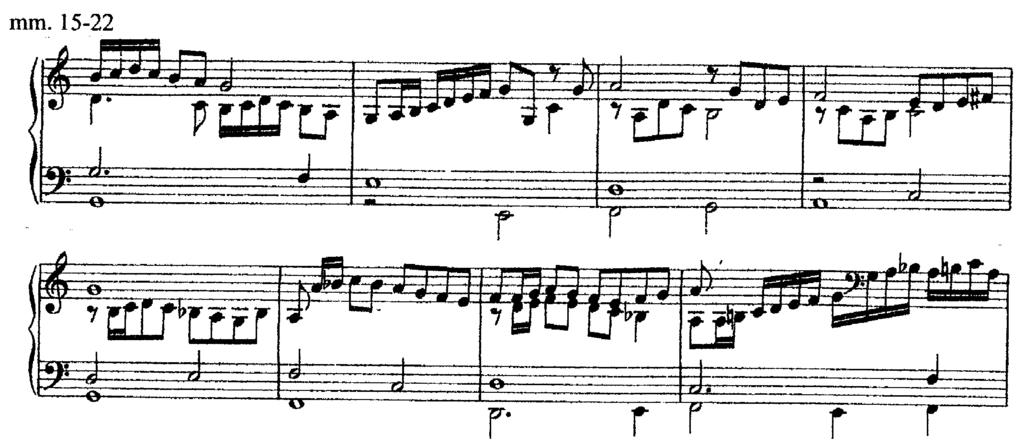 occurs only in the soprano and alto parts, with the tenor and bass parts remaining virtually identical to the original strain (Ex. 12). Example 12.