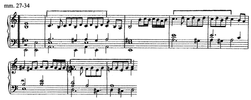 Example 15. Imitation of first motive of the second strain. At this point, a second motive is presented in the soprano.