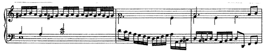 The second motive is begun in the soprano, and immediately moves into scales and passagework, flaunting itself over the imitated motive which is heard only in the bass.