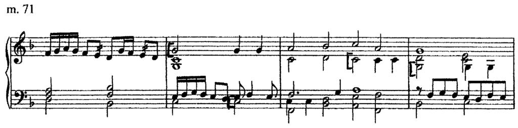 At the conclusion of the statements of the second subject, a long improvisatory section without subject takes over beginning in measure 76.