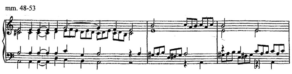 After four unadorned half notes, passaggi immediately return (Ex. 30). Example 30. Setting of vocal parts only at measures 35 and 41. A similar approach can be found at measure 48.