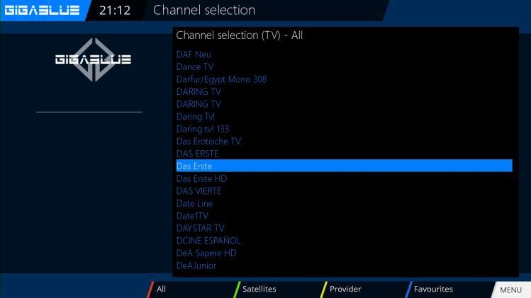 RED Button to watch all Channels GEEN Button will be open Satellite List YELLOW Button