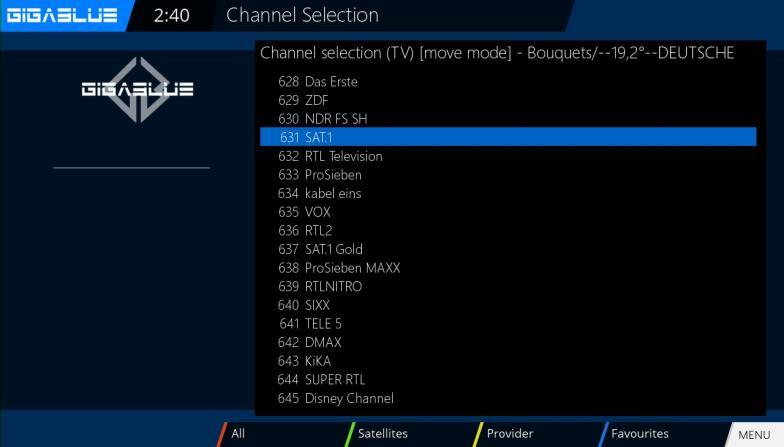 Operation of GigaBlue Box Move channels from the favorites list Use the arrow keys to enter the channel list.