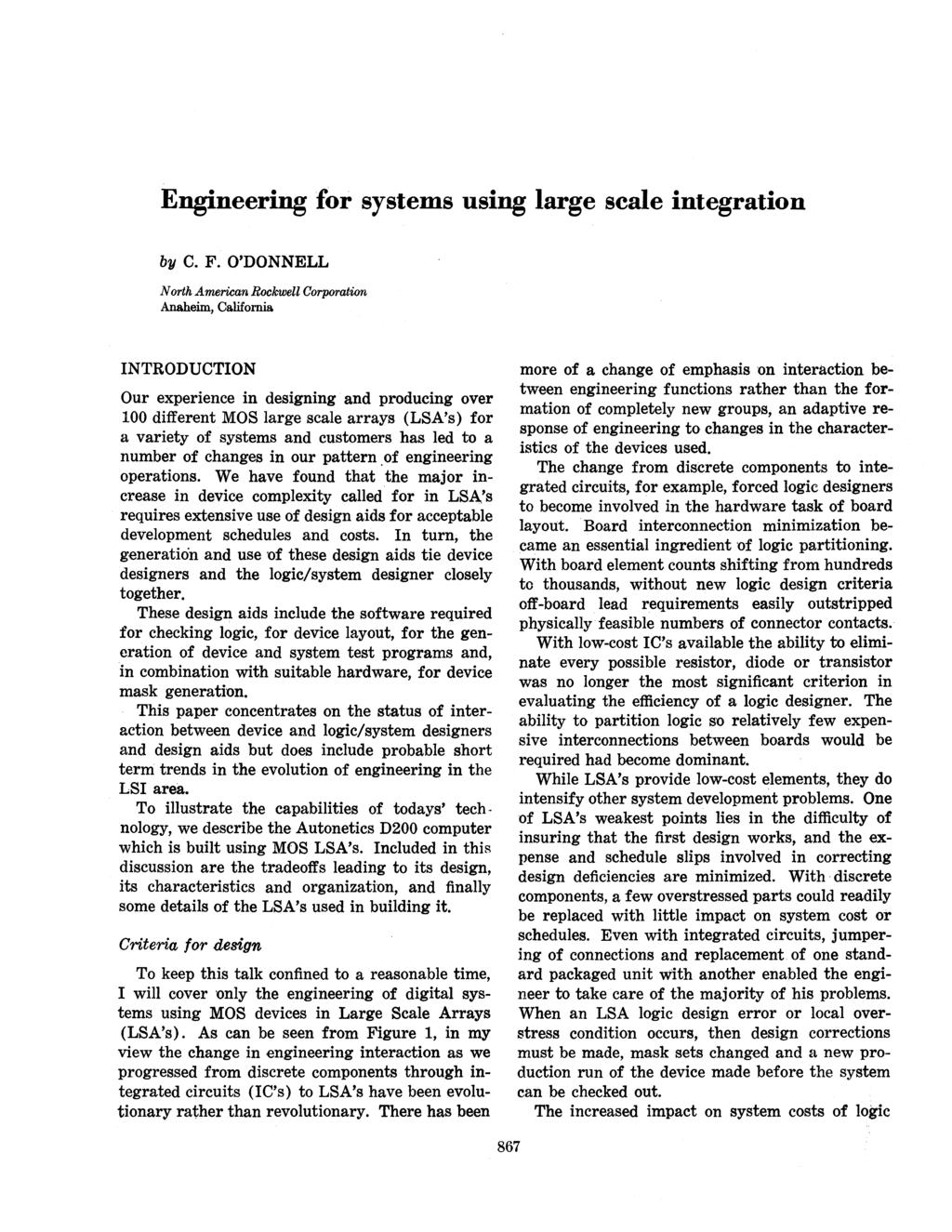 Engineering for systems using large scale integration by C. F.