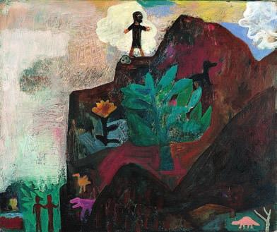 id ntity Julio Noboa Let them be as flowers, always watered, fed, guarded, admired, but harnessed to a pot of dirt. The Mountain (1991), Albert Herbert. Oil on canvas, 50.8 cm 61 cm.