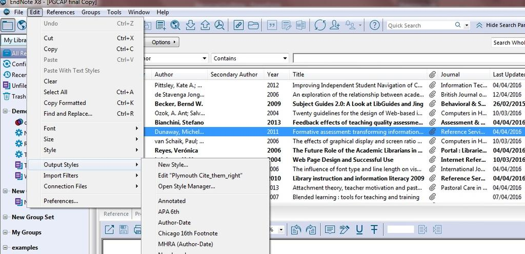 EDITING OUTPUT STYLES (PT 1) Create a custom EndNote style or tweak an existing one for your needs