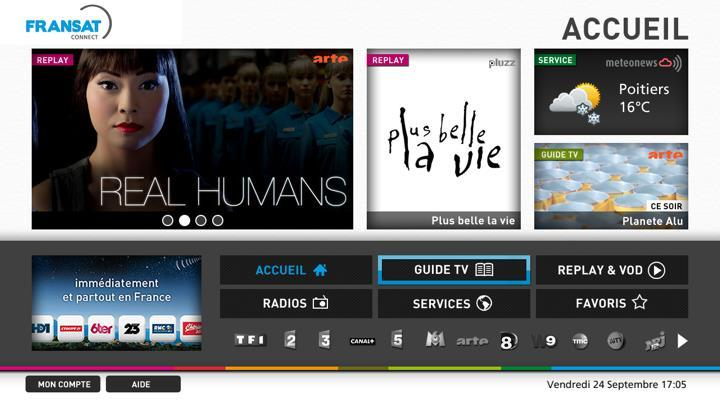 FRANSAT PROVIDES AN OPERATOR PORTAL TO PRESENT THE LINEAR AND NON LINEAR CONTENT OF ITS TV CHANNELS Fransat HbbTV Operator portal, mixing broadcast channels and broadband video services A wholly