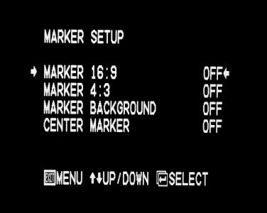 On-Screen Menu (continued) On-Screen Menu (continued) MARKER SETUP SUBMENU MARKER SETUP SUBMENU (continued) 4:3 Markers Use this setting to superimpose one of 5 markers on the screen when in 4:3 mode.