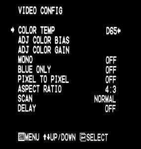 VIDEO CONFIGURATION SUBMENU On-Screen Menu (continued) On-Screen Menu STRUCTURE OVERVIEW MARKER 16:9 OFF, 13:9, 14:9, 4:3, 2.35:1, 1.