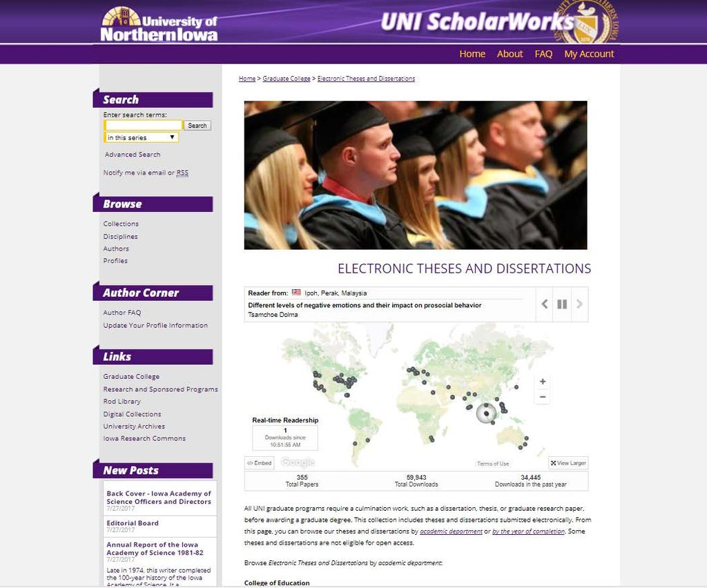 Theses/Dissertations now on UNI ScholarWorks website!