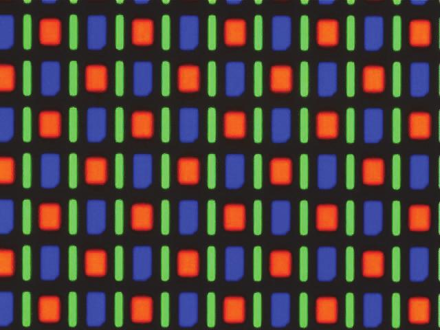 Here, vertical stripes of red (R), green (G), and blue (B) are interspersed as follows: Notice that this arrangement means you need six subpixels to produce white black alternating lines: seen as If