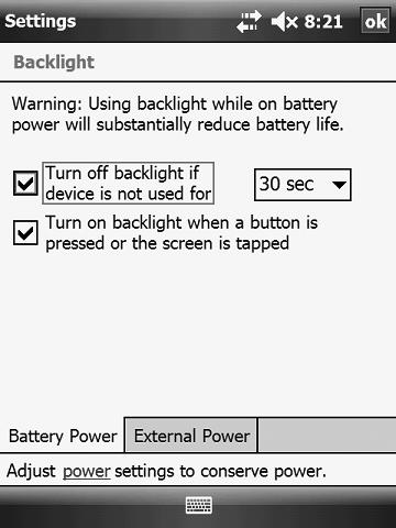 Adjusting Backlight Settings While you are working with the programmer, backlighting illuminates the screen.