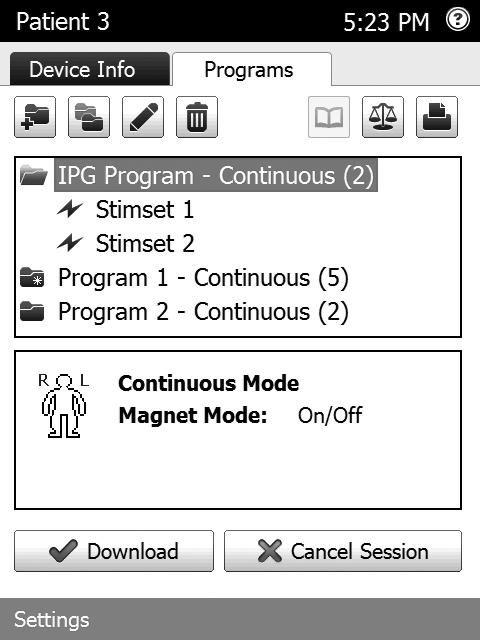 Downloading Programs After completing a programming session, you can download programs to the patient programmer or MTS unit that is communicating with the system. All programs are downloaded at once.