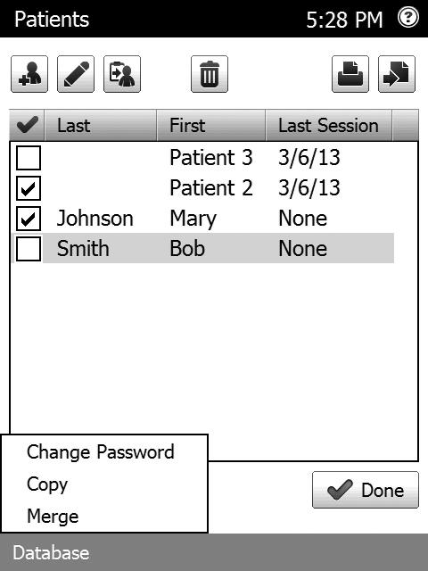 Merging and Copying Patient Database s The merge feature allows you to combine two patient databases from two separate database cards.