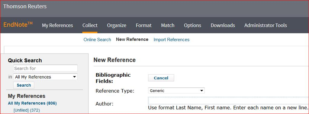 2. Manually adding references to your EndNote online library 1. Choose Collect from the tabs along the top.