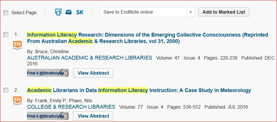 4. Exporting references from databases - example using Web of Science with EndNote online button 1. Carry out a Topic or Title search in Web of Science.