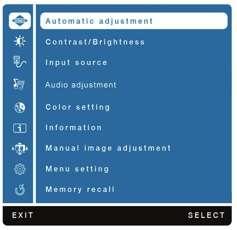 3 ON SCREEN DISPLAY Using On Screen Display (OSD) Functions Main Menu Button Function Automatic Adjustment Contrast/Brightness To auto adjust Horizontal Position, Vertical Position, Phase (Fine Tune)