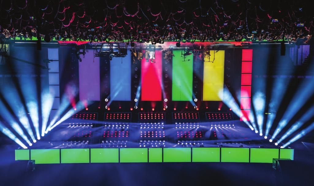 CONCERTS The upstage columns rotate and transform from light boxes into arrays of Robe Spikies. Europe; this also required on-site integration in Antwerp for the first time prior to the first show.