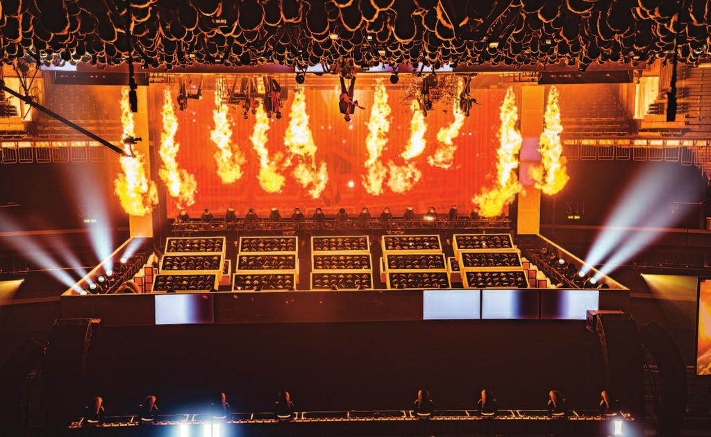 CONCERTS Eight Le Maitre Salamander Quad Pro units upstage provide flaming accents for Grenade. tion of Shure SM7s, SM57s, Royer 122s, and [Audio- Technica] AT4050s on the different guitar rigs.